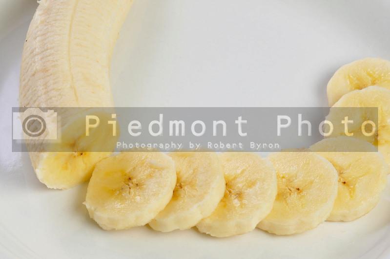 Fresh yellow banana slices ready to be eaten.
