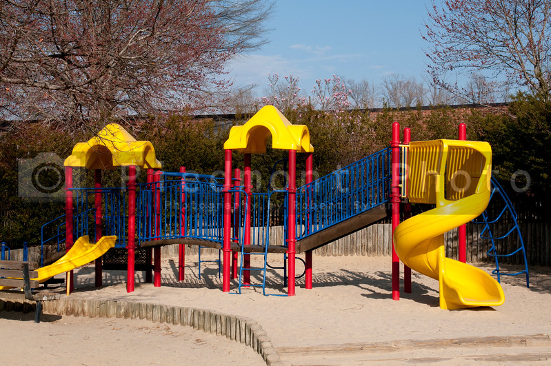 A childrens playground at an outside park