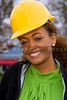 A beautiful Female Construction Supervisor wearing a hard hat