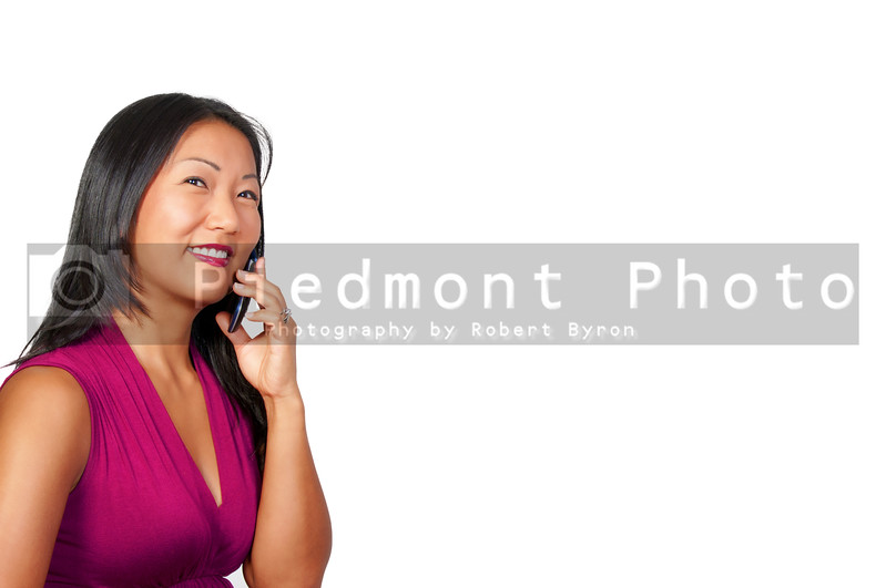 A beautiful woman using a cell phone