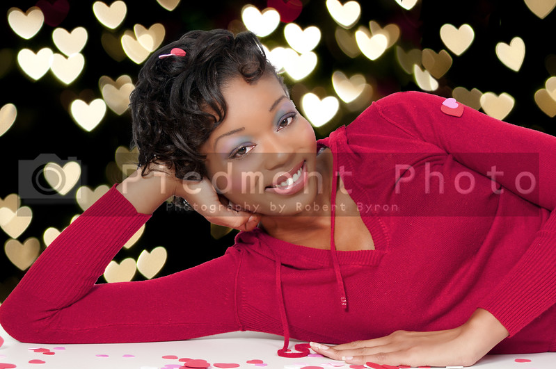 A beautiful young black woman on Saint Valentine's day.