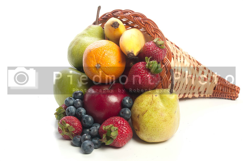 A Cornucopia with fruit celebrating the years bountiful harvest.