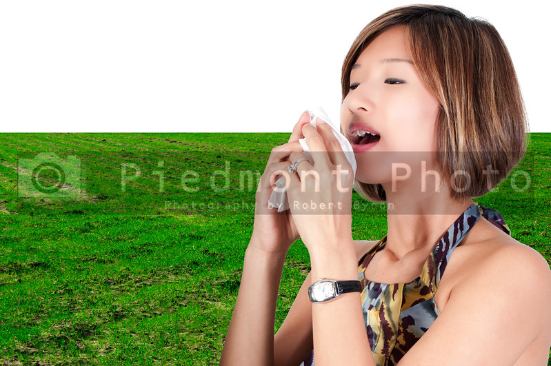 A beautiful Asian woman with a cold, hay fever or allergies blowing her nose