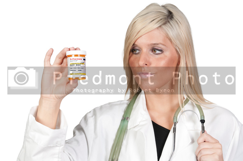 A doctor holding a humorous prescription bottle