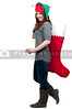 a beautiful woman elf holdin a big Christmas stocking
