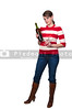 A beautiful  woman holding a wine bottle and glasses