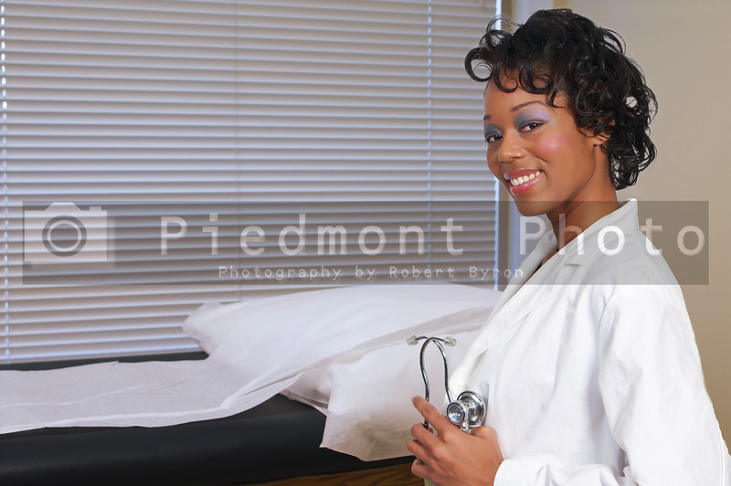 A beautiful black woman medical doctor in a lab coat