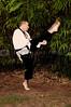 A man practicing his martial arts Karate moves