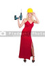 A beautiful woman in an enening gown with a hard hat and cordless drill