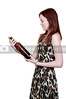 A beautiful  woman holding a wine bottle