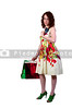 A beautiful young woman on a shopping spree with credit and debit cards