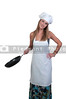 A beautiful young woman chef holding a  frying pan