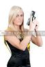 Ayoung and beautiful woman holding a handgun
