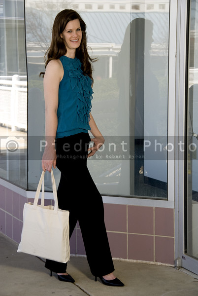 A beautiful young woman on a shopping trip