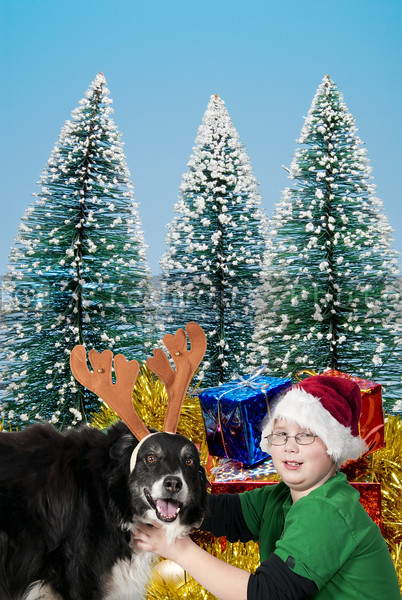 A Christmas boy and his reindeer black labrador