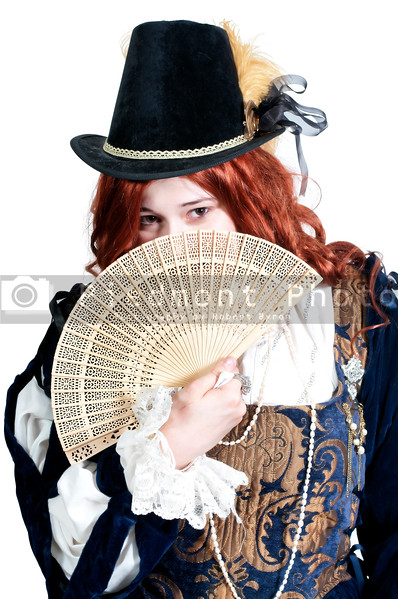 A woman dressed as a renaissance aristocrat in authentic dress