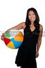 A beautiful young Asian woman holding a beachball