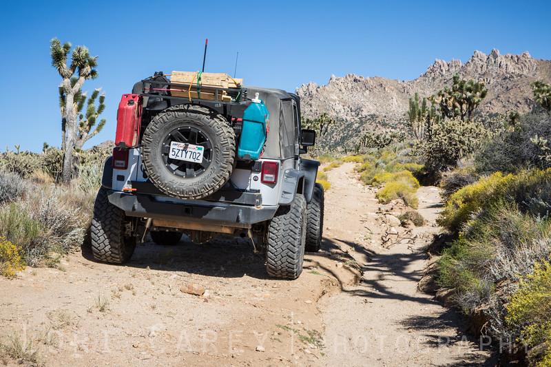 Jeep Wrangler on trail beyond Death Valley Mine