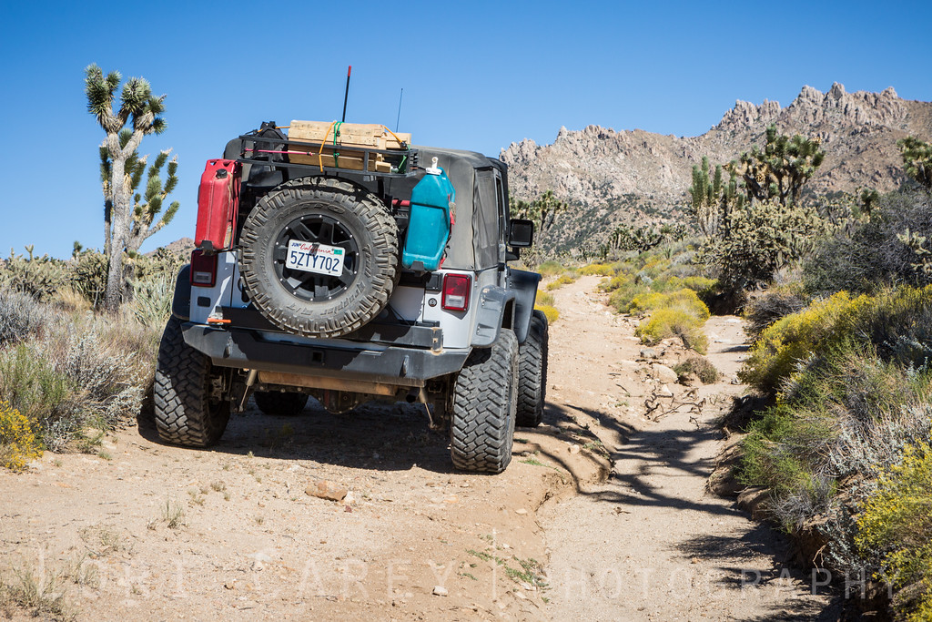 Jeep Wrangler on trail beyond Death Valley Mine