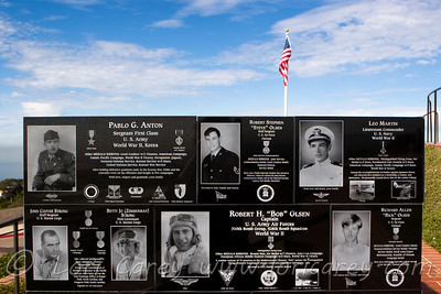 20110106_1644. Plaques with the names and photos of U.S. war veterans at Mt. Soledad war memorial in the San Diego community of La Jolla, California.
