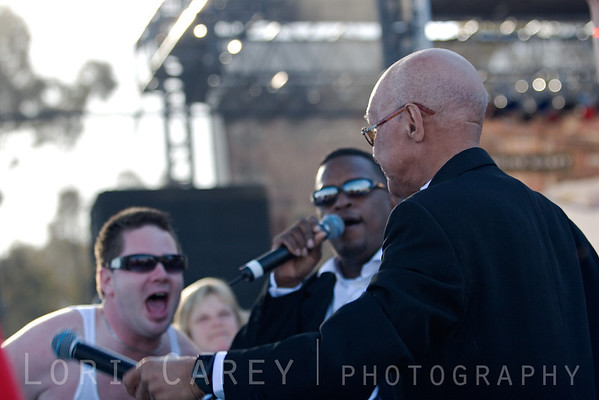 Jimmy Carter of the Blind Boys of Alabama working the crowd at the Doheny Blues Festival in Dana Point, California on May 21, 2005