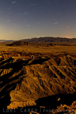 Moonlight on the badlands, Font's Point, Anza-Borrego Desert State Park