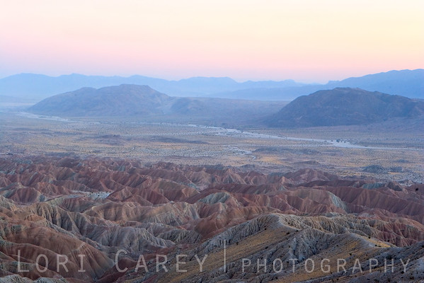 Long exposure after sunset showing the colors of the Borrego Badlands viewed from Fonts Point