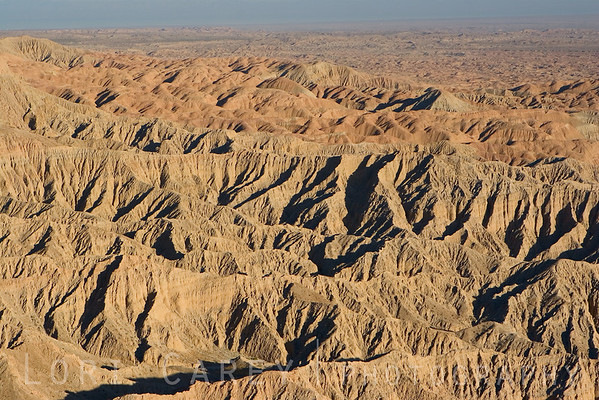 The low angle of the sun late in the day shows the harsh terrain of the Borrego Badlands.