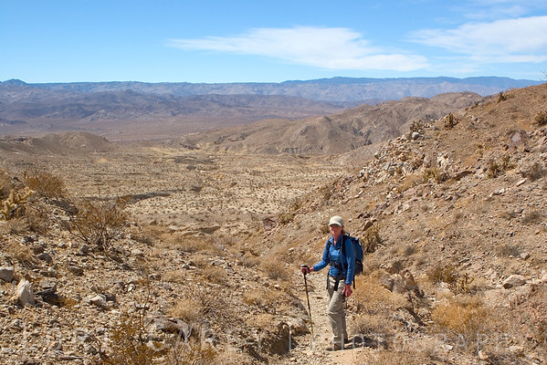 Me on trail heading back. I was glad I was wearing long pants and a long sleeved shirt. I had pushed my sleeves up for a while, but the sun was scorching on bare skin. I was much cooler having my skin covered.