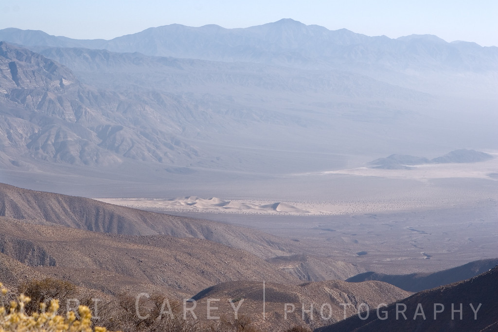 A closer shot of the sand dunes on the floor of Death Valley.