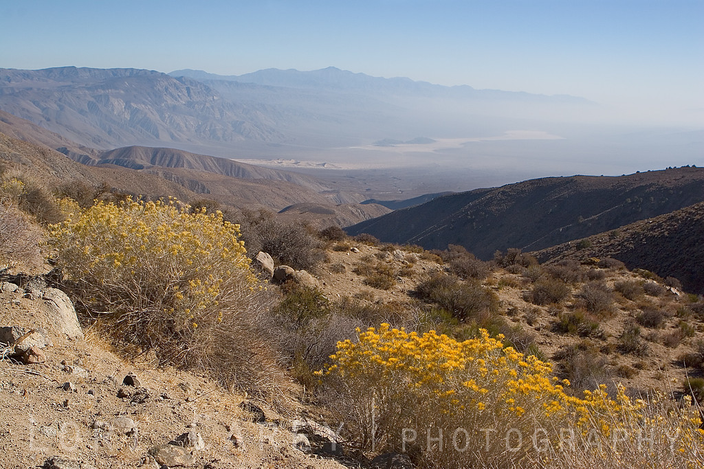 View of the sand dunes and Panamint Valley as seen from Saline Valley Road.