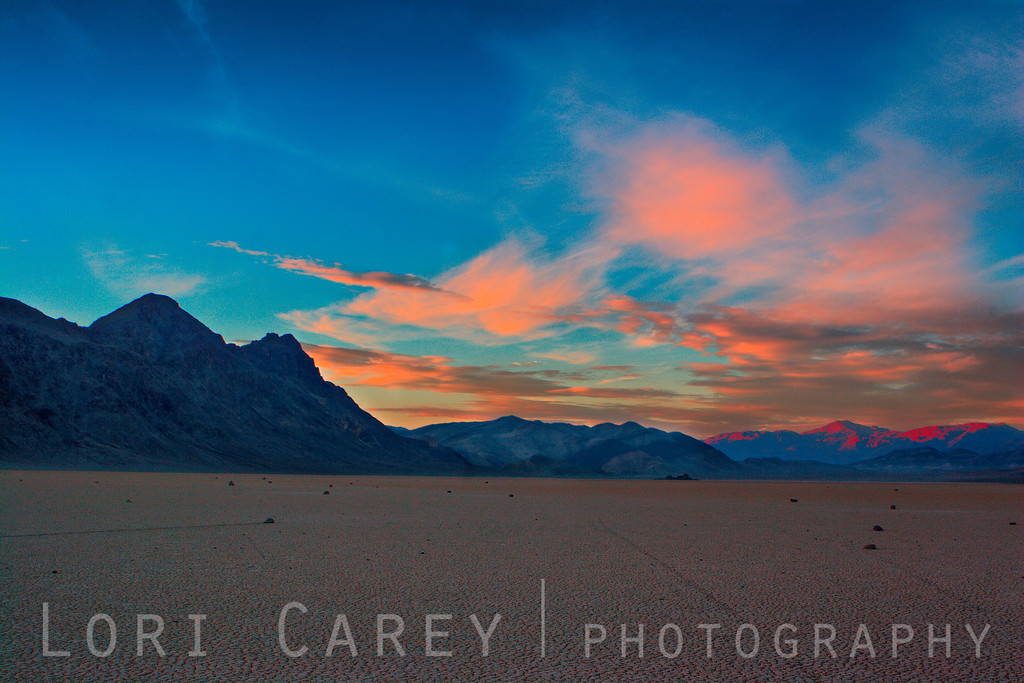 The Racetrack playa in Death Valley at sunset