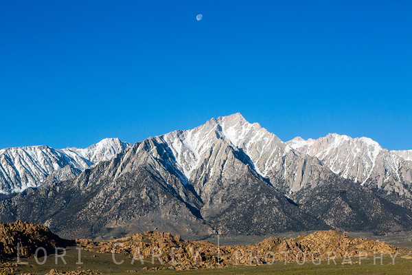 Morning Moon Over Lone Pine Peak, Alabama Hills