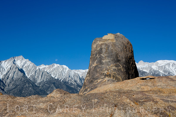 Moon, Mt. Whitney, scaly rock formation and tiny unknown arch in the Alabama Hills, Eastern Sierra, California
