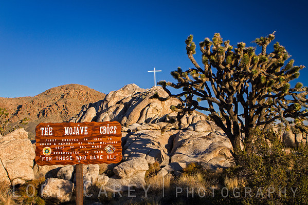 The Mojave Cross standing atop Sunrise Rock once again