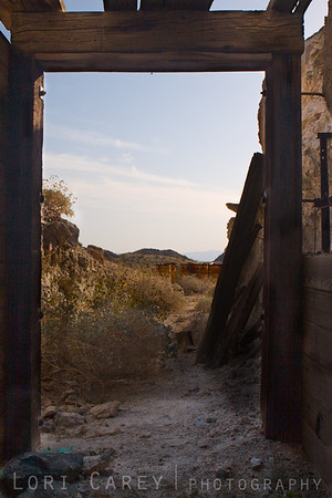 Standing inside the shaft looking out at the Oro Fino/Brannigan mine in the Mojave desert.