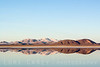 Snow-covered mountains reflected in East Superior Dry Lake in the Mojave Desert. This is usually a playa (a dry lake bed). A major winter storm brought snow to the Mojave Desert and turned the playa into a reflecting pool.