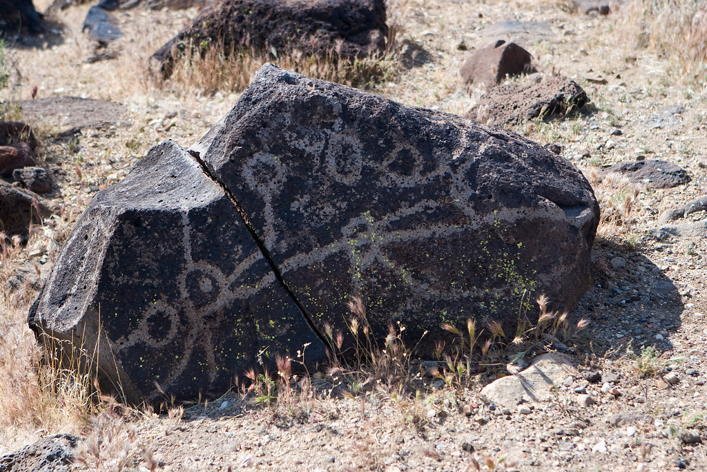 Kawaiisu indian petroglyph at Sheep Springs in the El Paso Mountains, north Mojave desert. There are appear to be a few water glyphs on this rock.