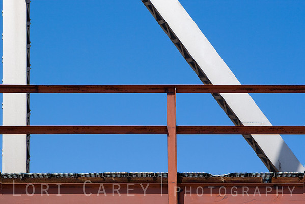 Detail of railroad bridge over the Mojave River in Afton Canyon
