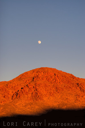 Moonrise over Ivanpah Mountains in the Mojave Desert, California, USA