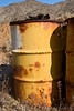 Barrels at the Oro Fino/Brannigan Mine in the Mojave Desert