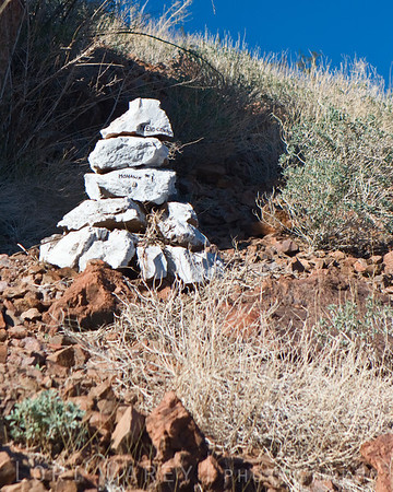 Cairn most likely marking a mining claim along the trail to Mohawk Spring in the Turtle Mountains, Mojave Desert, California