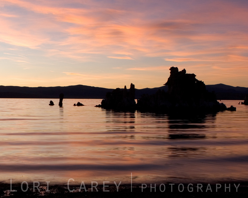 Mono Lake tufa towers at sunset