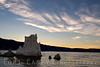 Mono Lake tufa tower at sunset