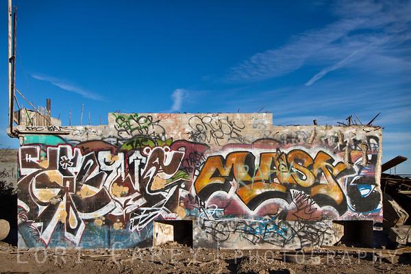 Abandoned building with graffiti in Brawley, California