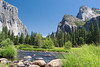 "An idyllic summer morning in July at ""Gates of the Valley"" in Yosemite National Park, California, USA. Also known as ""Valley View"", this well-known location shows El Capitan on the left, Cathedral Rocks on the right, Bridalveil Falls to the right of them, and the Merced River in the foreground. <br> <br> <a href='http://www.licensestream.com/LicenseStream/client/contentDisplay.aspx?cid=12177&fid=12890&l=r'><font color=""red"">License this Image</font></a>"