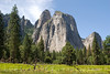 Cathedral Rocks and Spires, summer morning in Yosemite Valley.