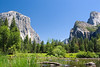 """Gates to the Valley"" on a clear summer in July at Yosemite National Park in California, USA. Also known as ""Valley View"", El Capitan is on the left, Cathedral Rocks on the right with Bridalveil Falls blowing in the wind just to the right of them, and the Merced River in the foreground. <br> <br> <a href='http://www.licensestream.com/LicenseStream/client/contentDisplay.aspx?cid=12176&fid=12889&l=r'><font color=""red"">License this Image</font></a>"