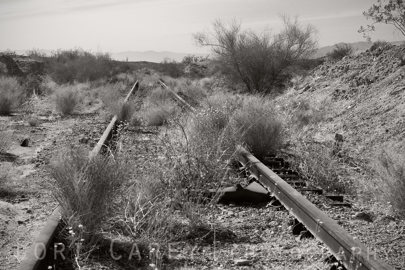 Abandoned railroad tracks along the Bradshaw Trail in the Sonoran Desert, southeastern Riverside County, California