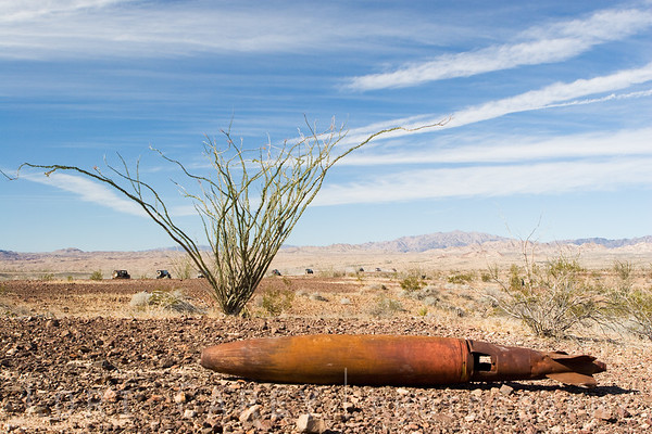 A BDU-45 full scale 500 pound Navy practice bomb lies along the Bradshaw Trail in the Sonoran Desert, Riverside County, California.